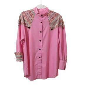 Western Button Down Shirt Pink Large